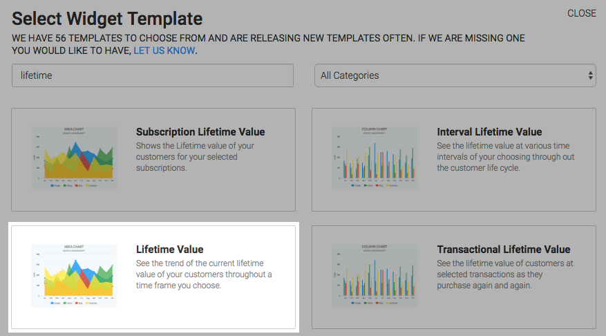 Type lifetime into the search bar and choose the Lifetime Value report