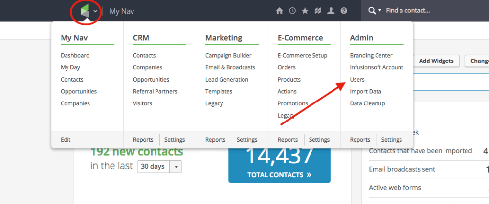 """To add Graphly as an infusionsoft partner, log into your Infusionsoft account and hover your cursor over the Infusionsoft symbol in the top left corner of your screen. When the pop-down menu appears, click on """"Users"""" under the Admin section."""