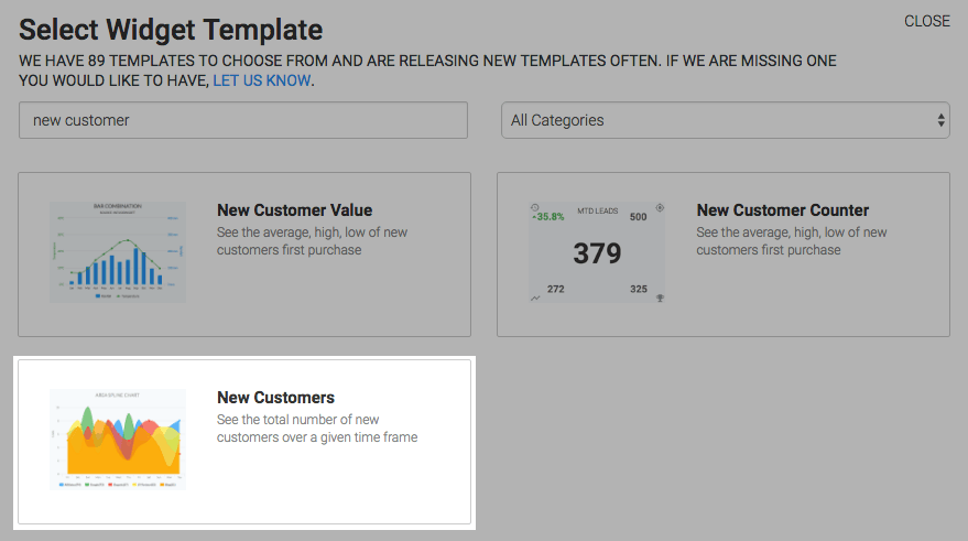 New Customers template highlighted in the template library