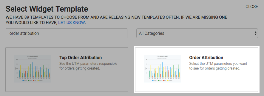 Order Attribution Template highlighted in the template library.