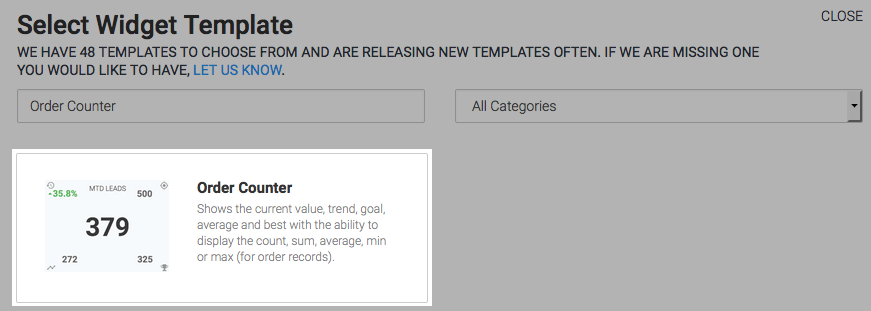 Order Counter template highlighted in the template library.