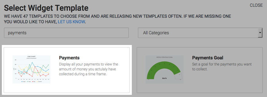 Payments report highlighted in the template library.