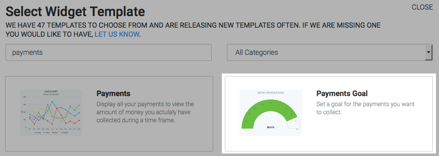 Payments goal template highlighted in the template library.