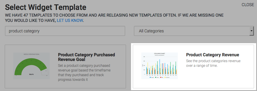search for the product category revenue report from the template library