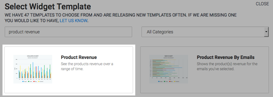 The Prodcut Revenue template highlighted in the template library.