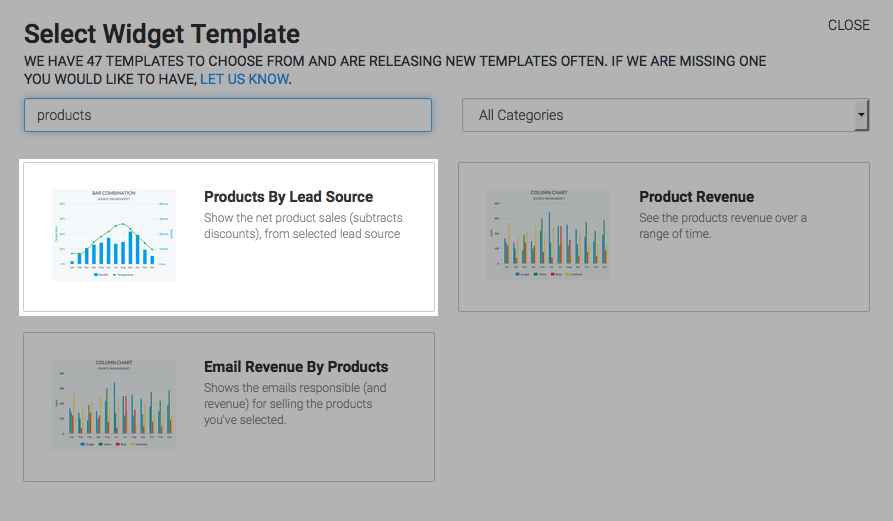 """To begin, click the """"+' icon on your Dashboard and type """"Products"""" into the search box. Then select the """"Products By Lead Source"""" Widget."""