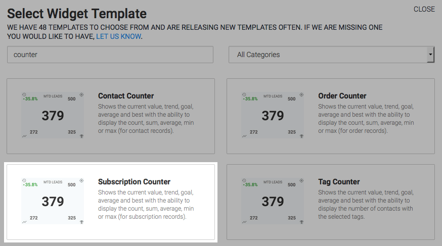 "To begin, click the ""+"" icon on the Dashboard and type ""counter"" into the search bar. Then select the ""Subscription Counter"" template."