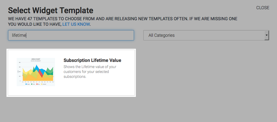 The subscription lifetime value template highlighted in the template library.