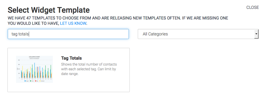 search for tag totals in the template library