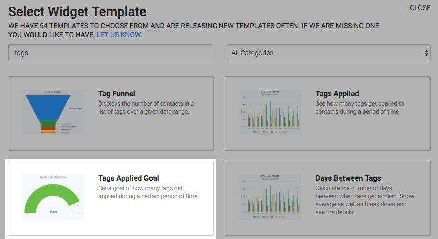 The Tags Applied Goal template highlighted in the template library.