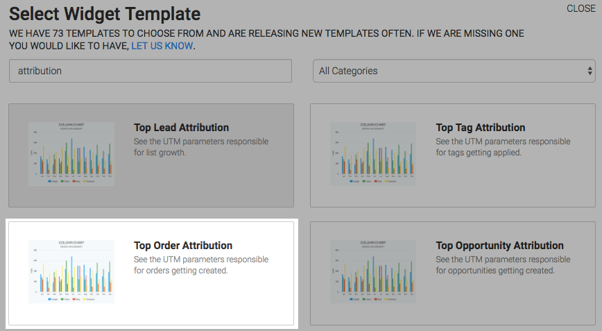 Top Order Attribution template highlighted in the template library.