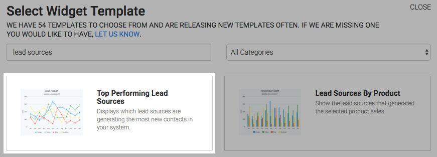Top Performing Lead Sources template highlighted in the template library.