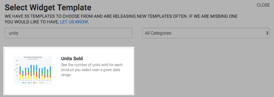 Select the Unit Sold report template from the template library.