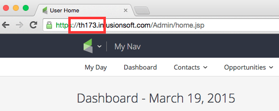 The app name is shown in the beginning of the URL after the https:// and before .infusionsoft.com