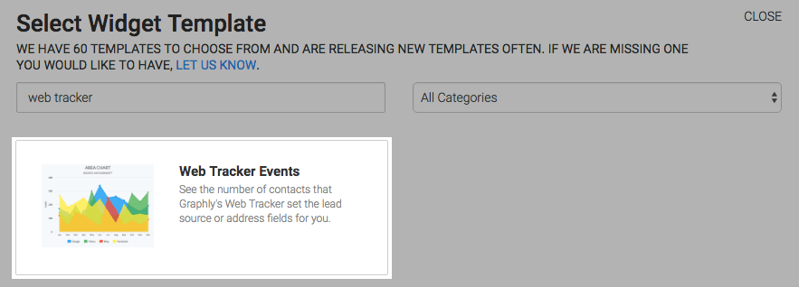 Web Tracker Events template highlighted in the the template library.