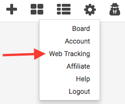 click the gear icon on your graphly dashboard and click web tracking