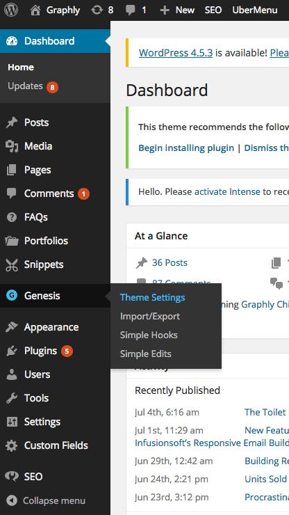 Theme settings selected under Genesis.