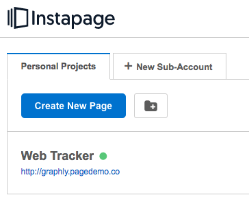 Log in to Instapage and get into a page that you want the web tracker on