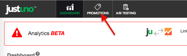 click promotions at the top of your justuno account