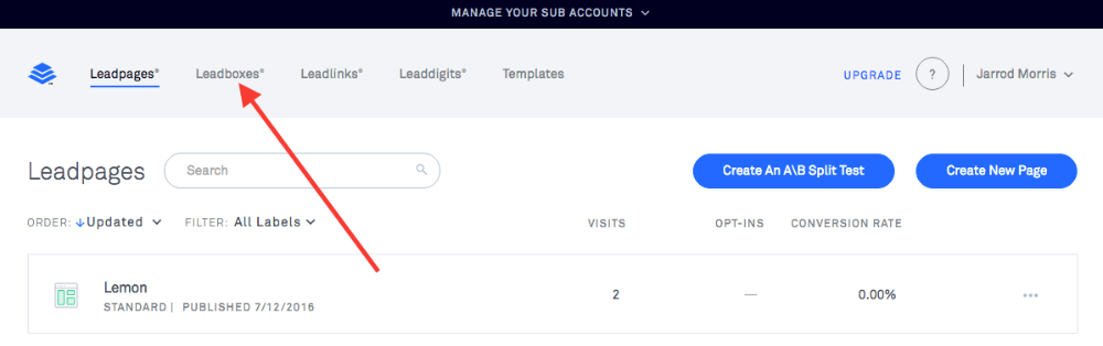 First, get logged into your Leadpages account and navigate to Leadboxes. This is for the Web Tracker