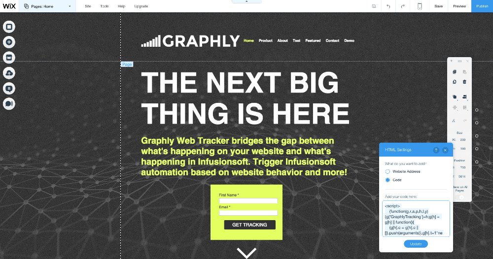It's not possible to Integrate Graphly's Web Tracker with Wix.