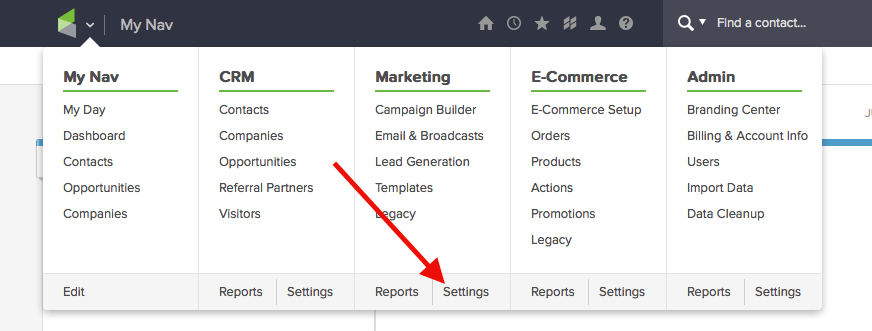 """Let's begin to track opens by hovering over the Infusionsoft icon and clicking on the the Marketing """"Settings""""."""