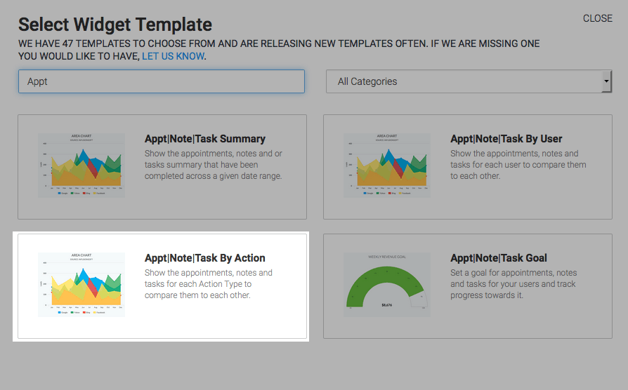 highlighted appt|note|task by action report in template library