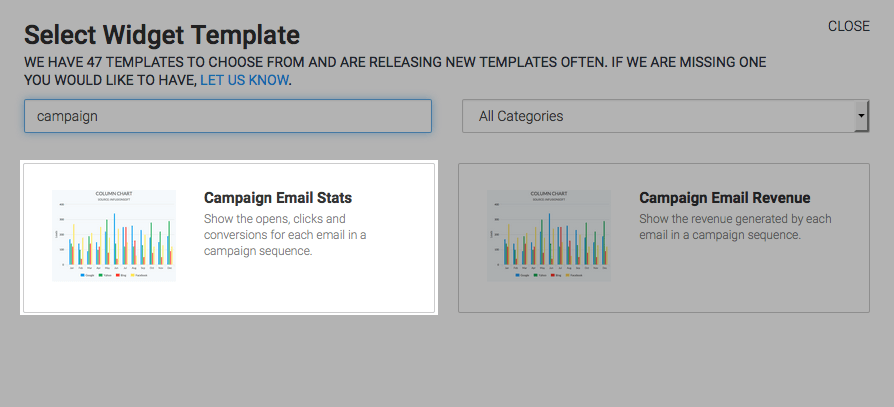 Under Select Widget Template you see 'Campaign Email Stats'