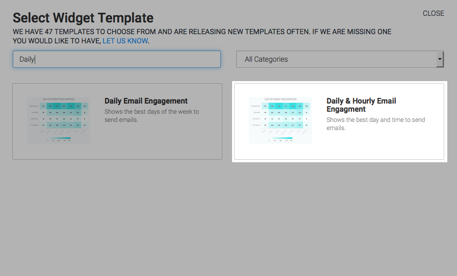 Click on the plus button and then type daily into the search box. Then click on the Daily & Hourly Email Engagement report