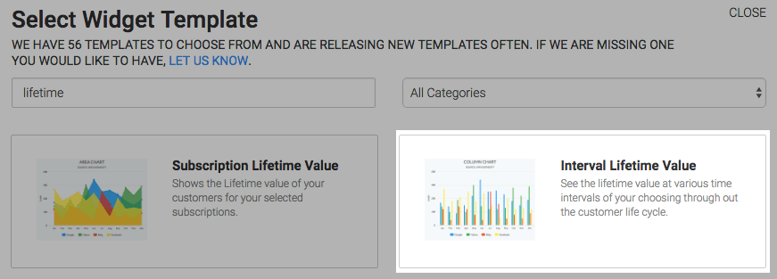 Interval Lifetime Value template shown in the template library.