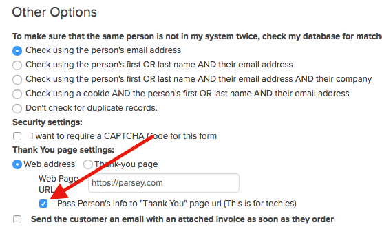 check the box under the URL field in the legacy order form builder in the Thank you page section