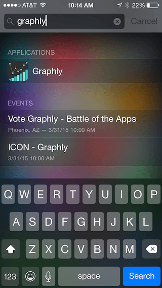 If you cannot find Graphly try doing a spotlight search. You can do this by swiping down with one finger on your iphone home screens and searching for Graphly. If it is on your phone you will see it like in the image below. If it is not there try these step again.