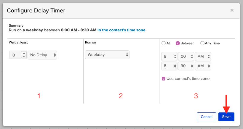 Configure the delay you desire.