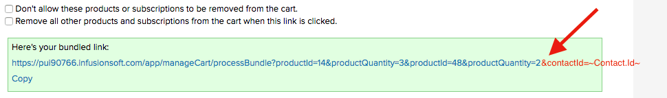 add the contact id to the end of the product bundle link url