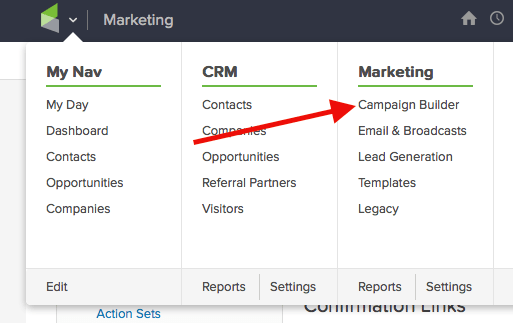 """Now that we have that, let's hover over the Infusionsoft icon, and click on """"Campaign Builder"""" under Marketing,."""