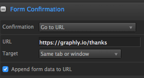 Input a thank you page URL that contains the Graphly script.