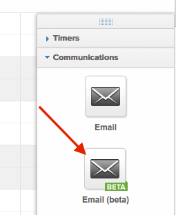 """Look to the right side and expand """"Communications"""" and choose the """"Email beta"""" icon."""