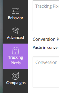 "After that's been saved, click on ""Tracking Pixels"" on the sidebar."