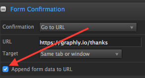 """Arrow pointing to checked box """"Append form data to URL"""""""
