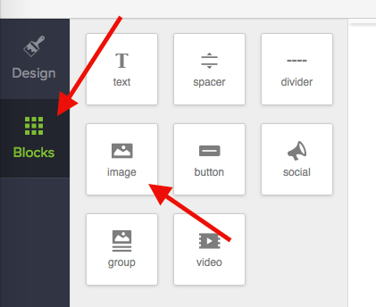 """Click on """"Blocks"""" and grab an image, putting it right above the main image."""