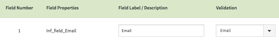 Give the field a label and then change the Validation to Email