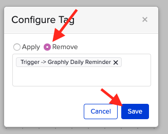 Set this to remove the tag that triggers this campaign.