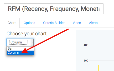 In the chart tab select the chart type as column