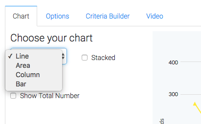 Select a chart type from the drop down.