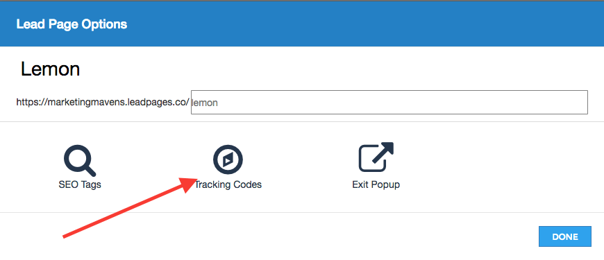 click the tracking codes option in the middle of the page