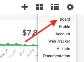 """To begin, open up Graphly and navigate to the board you would like to be emailed. Click the """"Gear"""" icon and select """"Board""""."""