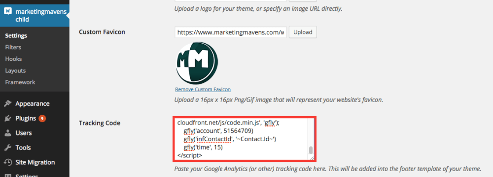 Then scroll to Tracking Code section and paste the Graphly web tracker script below any other code.