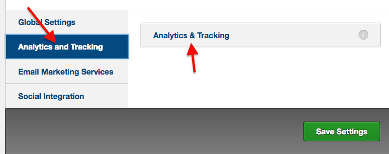 click analytics and tracking section and then click analytics & tracking