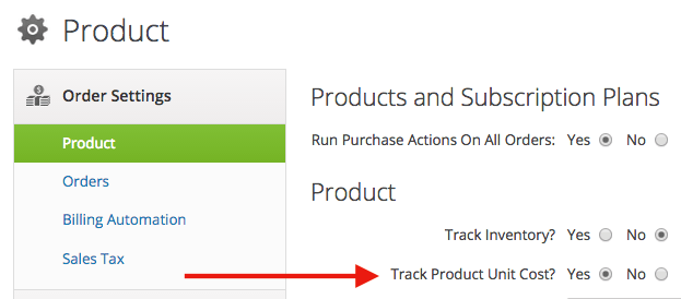 Select Yes for the Track Product Unit Cost under the product settings section