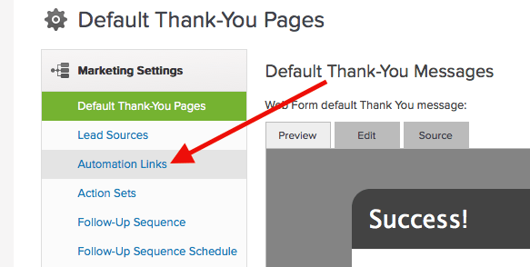 """Under the Marketing Settings click on """"Automation Links"""". Once there, we need to create a new link under the Automation Link section."""